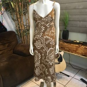 J. Crew Brown & White Floral Silk Maxi Dress 👗 6